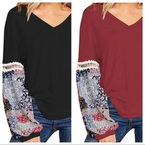 Tops - NIB Plus V-Neck Gorgeous Printed-Sleeve Tunic XL
